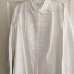 Jjill size XL White Cotton Tuxedo Style Tunic